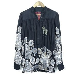 Desigual Floral Long Sleeve Elastic Band Blouse
